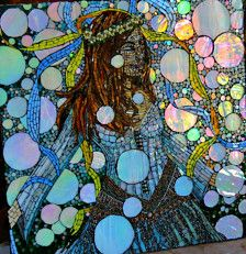Let there be songs to fill the air  Stained glass and beaded Mosaic mural with iridescent glass that changes colors from different angles  24 x 24  Shipping and insurance included  This link will take you to my updates page where you can see this piece being made...  https://www.etsy.com/shop/dannimacstudios/updates?ref=shopinfo_shopupdates_leftnav