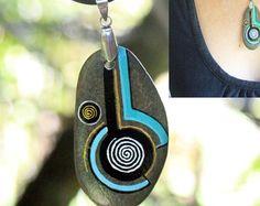 symbol pendant, painted rocks, unique necklace, green stone necklace, boho chic, painted stone, leather stone, unique art, unique design