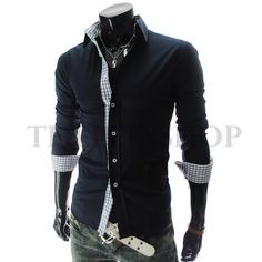 Slim fit Check Patched Stretchy Long Sleeve Shirts