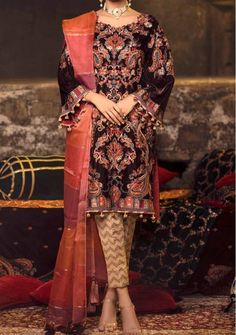 Velvet Pakistani Dress, Pakistani Dresses, Shawl, Kimono Top, Trousers, Saree, Luxury, Fabric, Sleeves
