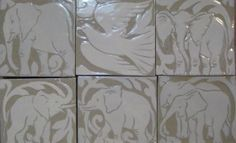 "Elephant and Dove 6"" Cream Carved Tiles by Miranda Thomas"
