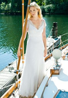 Classic A line V Neck Lace Short Sleeves Floor Length Wedding Gown - Angeldress.co.uk