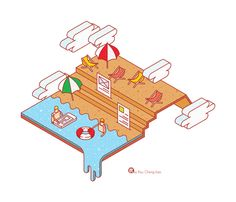Cute illustrations by only drawing the outlines. The three dimension of this work shows the perspective. Te shape of the clouds remind me of Mario digital game. The constrained visual language here conveys a sense of playfulness. Vector Design, Vector Art, Logo Design, Pattern Illustration, Graphic Illustration, Milan Map, Isometric Design, Travel Design, Typography Inspiration