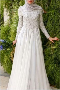 Wedding Dresses Ball Gown, Glamorous Silk-like Chiffon Natural Waistline A-line Arabic Islamic Wedding Dresses With Beaded Embroidery DressilyMe - Tesettür Elbise Modelleri 2020 - Tesettür Modelleri ve Modası 2019 ve 2020 Muslimah Wedding Dress, Muslim Wedding Dresses, Wedding Hijab, Muslim Dress, Kebaya Muslim, Bride Dresses, Dresses Elegant, Elegant Wedding Dress, Modest Dresses