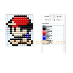 Ash Pokemon trainer free small perler beads pattern 13 x 15 4 colors