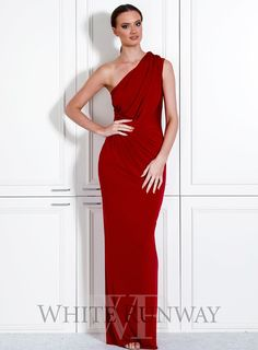 Phieffer Dress. A beautiful one shoulder style by PIa Gladys Perey. A very flattering style with a draped bodice. #whiterunway #bridesmaids #fulllengthdress #weddingguest #formalwedding #whiterunway #bridesmaiddress #formal #evening #grecianwedding