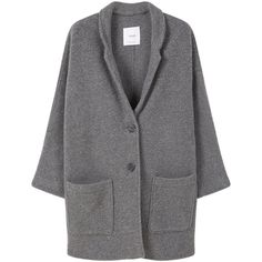 Mango Texture unstructured coat (€69) ❤ liked on Polyvore featuring outerwear, coats, grey, women, lapel coat, mango coat, grey coat, textured coat and gray coat