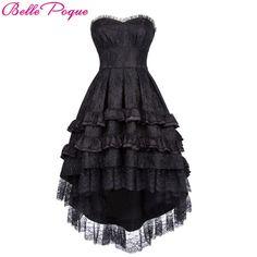 4d65dbe74 Womens Belle Poque Gothic Rock Black Lace Dovetail Dress. Bridal CorsetVictorian  GothicVintage ...