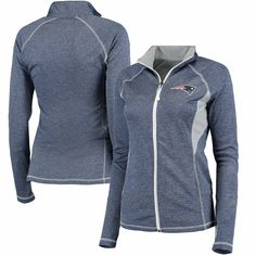 New England Patriots Majestic Women's Club Pass Full-Zip Jacket - Heathered Navy - $64.99