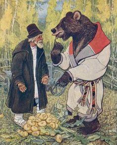 Russian brown bear folk legend. Antique bear hunting vintage Hunter trapper bear trainer pet bear dead bear black-and-white original photo postcard picture