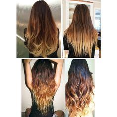 "Toffee Cappuccino Ombre Hair,Dark Brown with a slow fade to caramel and toffee, 18"", Custom Your Color featuring polyvore, beauty products, haircare, hair, hairstyles, beauty, hair styles, styling iron, straightening iron, indian hair care, flat iron and straight iron"