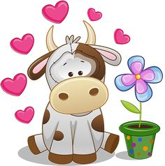 Kravica,Little cow in love Cartoon Drawings, Cute Drawings, Cow Pictures, Cow Art, Cute Clipart, Cute Images, Cute Illustration, Fabric Painting, Cute Cartoon