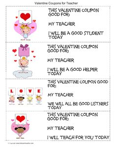 Valentine's Day Coupons for Teachers