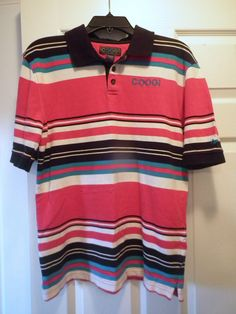 Coogi Polo Shirt Multi-Color Mens Medium Striped Short Sleeves #COOGI #PoloRugby