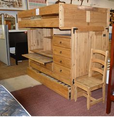 Complete Full Size Loft Bed, twin trundle, closed, desk and chest of drawers and chair