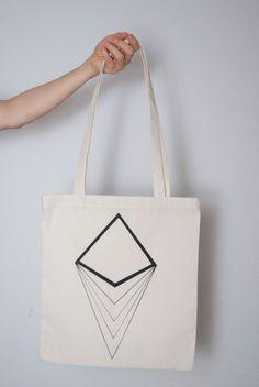 Eco Geometric Diamond Print Tote Bag by ficklesense on Etsy