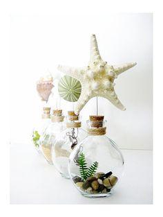 sea-side glass bottle terrariums