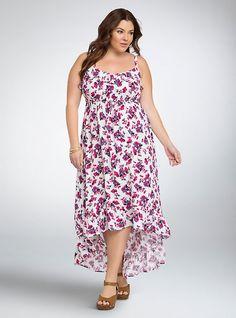 Floral Ruffle Challis Maxi Dress,   Size: 4