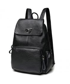 Women s Leather Backpack Casual Daypack Purse Shoulder Bag for Ladies -  Black - C718345X609 c123e5e3d5bf8