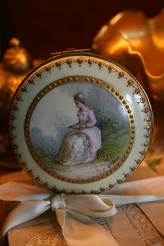 Antique Chic French Signed Nouveau Gold Painted Procelain Jewelry Trinket Box | eBay