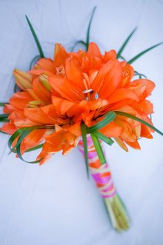 Orange and Green Bridal Bouquets