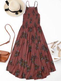 Floral A-Line Smocked Midi Dress - Floral M