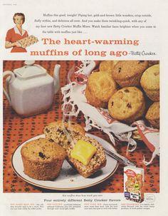 1958 Betty Crocker Raisin Bran Muffins Ad Breakfast Food Photo