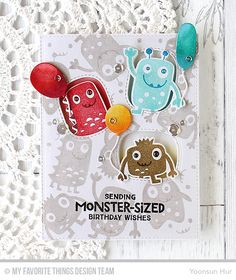 Monster Love Stamp Set and Die-namics, Stitched Triple Peek-a-Boo Window Die-namics, Birthday Balloons Die-namics - Yoonsun Hur  #mftstamps