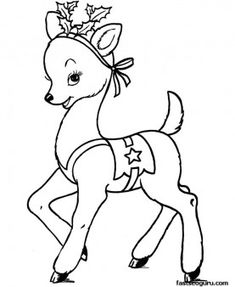 Printable coloring pages of Christmas Santas Reindeer - Printable Coloring Pages For Kids