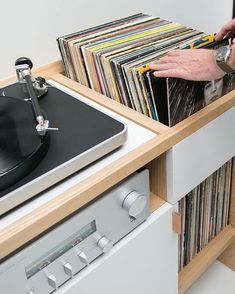 SYMBOL audio Unison Record Stand available in solid Ash or Walnut. Perfect for a turntable and records! regal Unison Record Stand - All In One Vinyl Record Storage Vinyl Record Storage, Lp Storage, Turntable Setup, Record Stand, Record Table, Record Cabinet, Vinyl Room, Entertainment Furniture, Audio Room