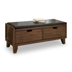 SOLID WOOD! Find it at the Foundary - Dark Walnut Solid Wood 48 in. Bench with Two Drawers