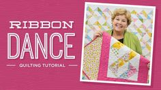 """Learn to make the Ribbon Dance Quilt with Jenny! YouTube-9:15min Jenny demonstrates how to make a simple ribbon block using 10 inch squares of precut fabric (layer cakes). We used Garden Splendor by Wild Apple for Robert Kaufman. Learn a quick and easy way to make half square triangles. Quilt size: approx 78""""x86"""""""