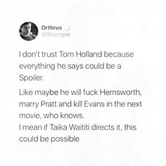I'm just trying to imagine tiny little Tom Holland fucking huge ass Chris Hemsworth