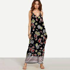 d1b4a57149b Plus Size Boho Strap Deep V-Neck Sleeveless Beach Maxi Dress - Free Shipping    No Tax