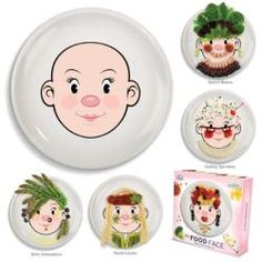 Food Face - Design a Face Plate Girl's Style by Fred & Friends With this plate, kids are encouraged to play with their food! Children use their food to create funny faces and hair on the face-pict Holiday Gifts, Christmas Gifts, Funny Christmas, Face Design, Teller, Ceramic Plates, Painted Plates, Ceramic Art, Dinner Plates