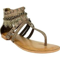 Show off your swank this spring with this dainty boho style Willow Sandal from Not Rated. The Not Rated Willow Sandal has lace accent detail with gorgeous studs and rhinestones! There's a zipper up th