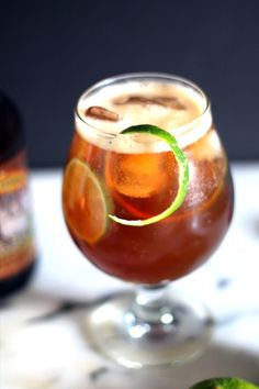 This maple lime bourbon beer cocktail recipe makes a bold drink for the beer lover, cocktail lover, or whiskey lover and will warm you up.