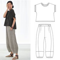 Today's make this with that sewing inspiration is a ready-to-wear ensemble that reminds us that keeping it simple keeps it elegant. Recreate this look with a knit Eureka Top pattern and linen Picasso Pants pattern. So cool and chic for summer. Sewing Clothes Women, Diy Clothes, Clothes For Women, Sewing Pants, Dress Sewing Patterns, Clothing Patterns, Linen Dress Pattern, Japanese Sewing Patterns, Simple Sewing Patterns