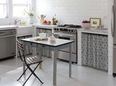 Contemporary skirted kitchen cabinets.