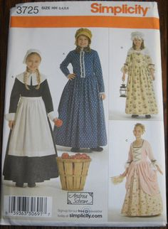 Girls Pilgrim & Colonial Costume Pattern Simplicity 3725, Sizes 3-6 by FeminineDress