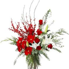 Holiday Floral Centerpieces   Holiday Splendor Floral Arrangement for Christmas