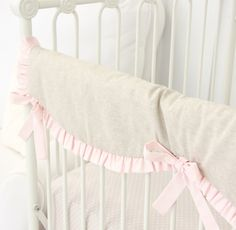 Vintage Pink and linen ruffle crib rail guard