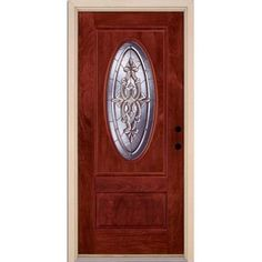 Feather River Doors Silverdale Zinc 3/4 Oval Lite Stained Cherry Mahogany Fiberglass Entry Door-712590.0 at The Home Depot