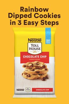 30 minutes · Makes 24 Cookies · Nestle Toll House Chocolate Chip Refrigerated Cookie Dough is here to give your family fun, easy and comforting baking recipes you need! These 3 step Rainbow Dipped Cookies take only 30 minutes and…More Spicy Recipes, Baby Food Recipes, Baking Recipes, Dessert Recipes, Recipes Dinner, Honduran Recipes, Cake Recipes, Chicken Recipes, Hamburger Recipes