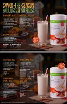 Herbalife Meal Plan, Herbalife Shake Recipes, Protein Shake Recipes, Herbalife Nutrition, Nutrition Club, Nutrition Shakes, Herbal Life Shakes, Pumpkin Shake, Smoothie Drinks