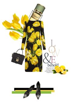 """""""She loves tulips"""" by theitalianglam ❤ liked on Polyvore featuring ASOS, Dolce&Gabbana, dolcegabbana and yellowdress"""