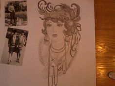 pencil sketch 1920's inspired