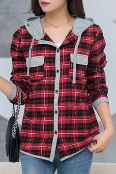 Casual Hooded Long Sleeve Plaid Shirt for Winter - My daughter will love this!