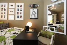 Modern Brown Wall Color Scheme With Small Home Office Table In Modern  Bedroom Design Ideas