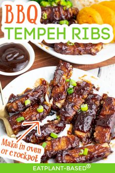 These vegan BBQ Tempeh Ribs from EatPlant-Based are savory and delicious! If you are needing an EASY weeknight dinner or a dish to bring to your next cookout, this is the recipe for you! This vegan and oil-free BBQ rib recipe will have your guests asking for more! The best part is they can be made in the oven or the crockpot for EASY convenience! Try this delicious, vegan, and oil-free rib recipe today! Rib Recipes, Vegan Dinner Recipes, Vegan Dinners, Whole Food Recipes, Healthy Recipes, Vegan Grilling, Grilling Recipes, Vegan Ribs, Veggie Kabobs